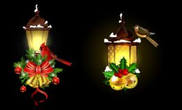 Christmas decoration with street light. Christmas decoration set with street light and evergreen trees and golden bells with red bow and Cardinal and sparrow Royalty Free Stock Photography