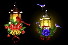 Christmas decoration with street light. Christmas decoration set with street light and evergreen trees and golden bells with red bow and Cardinal and tit birds Stock Image