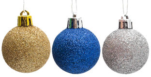 Christmas decoration, set of three shiny balls Royalty Free Stock Photos