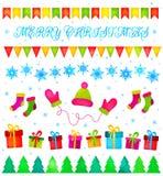 Christmas decoration set vector backround Stock Photos
