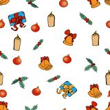 Christmas decoration set. Vector pattern. Funny Christmas balls, candles, holly and presents boxes royalty free illustration