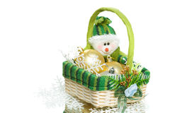 Christmas decoration set in wicker basket Stock Photo