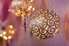 Christmas decoration: Several big gold balls Stock Image