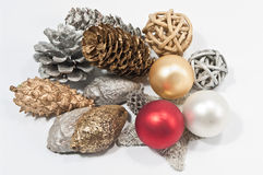 Christmas decoration in several colors. Christmas decoration in red, silver and gold Royalty Free Stock Photos