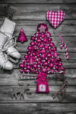 Christmas decoration: shabby chic or country style in vintage lo Stock Photo