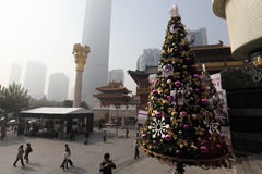 Christmas decoration in Shanghai. Christmas decoration at the City Plaza shopping centre in Shanghai, China Royalty Free Stock Photography