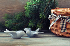 Christmas decoration in shape of birds Royalty Free Stock Photo