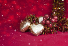 Christmas decoration in shape a heart with ribbon Royalty Free Stock Photo