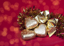 Christmas decoration in shape a heart with ribbon Royalty Free Stock Image
