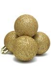 Christmas decoration, the shiny golden balls Stock Photos