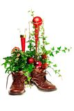 Christmas decoration with shoes royalty free stock photography