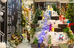 Christmas decoration shop, decorated xmas trees Stock Image