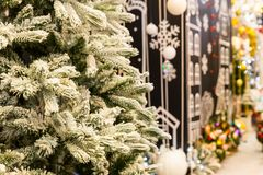 Christmas decoration shop, fir tree closeup. New year. Winter holiday celebration royalty free stock photos
