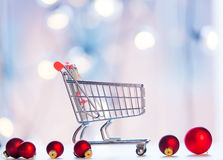 Christmas decoration and shopping cart Stock Photo