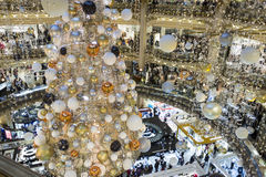The Christmas decoration at shopping center Galeries Lafayette. Royalty Free Stock Photos