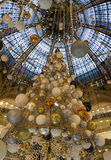 The Christmas decoration at shopping center Galeries Lafayette. Royalty Free Stock Photo