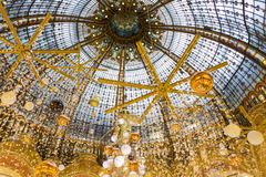 The Christmas decoration at shopping center Galeries Lafayette. Royalty Free Stock Photography
