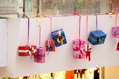 Christmas decoration of shopping center models of gifts Stock Photo