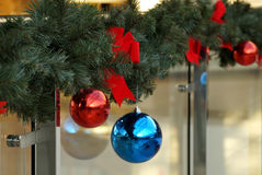Christmas decoration of shopping center spheres, bows Stock Photography