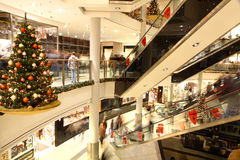 Christmas decoration in shopping mall Stock Photos