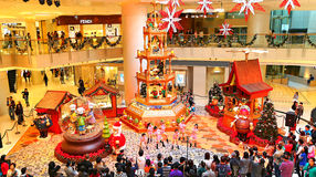 Christmas decoration at shopping mall. Visitors enjoying the children's dance performance at the elements shopping mall in hong kong. this function was part of Stock Image