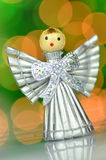 Christmas decoration, silver angel made of straw Stock Photo