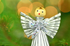 Christmas decoration, silver angel made of straw Royalty Free Stock Photos