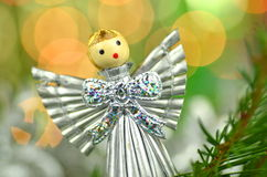 Christmas decoration, silver angel made of straw Royalty Free Stock Photo