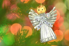 Christmas decoration, silver angel made of straw Stock Photography