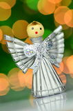 Christmas decoration, silver angel made of straw Stock Photos