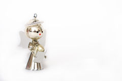 Christmas decoration, silver angel on white background Royalty Free Stock Photos