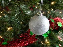 Christmas Decoration. Silver ball hanging from a Christmas tree Stock Photography