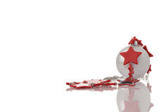 Christmas decoration silver ball with red stars ga Stock Photo