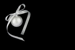 Christmas decoration silver ball with silver ribbo Royalty Free Stock Image