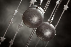 Christmas decoration - silver baubles Stock Image