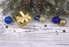Christmas decoration with silver and blue balls stars snowflakes Royalty Free Stock Image