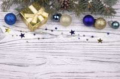 Christmas decoration with silver and blue balls stars snowflakes Royalty Free Stock Photos
