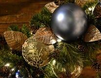 Christmas Decoration, against wood Mantle stock image
