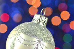 Christmas decoration, silver Christmas ball Stock Photos