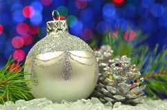 Christmas decoration, silver Christmas ball Stock Photo