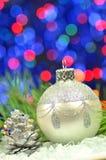 Christmas decoration, silver Christmas ball Stock Image