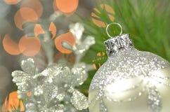 Christmas decoration, silver Christmas ball Stock Photos