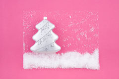 Christmas decoration silver fir with snow Royalty Free Stock Photos