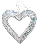 Christmas decoration silver heart Royalty Free Stock Photography