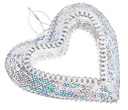 Christmas decoration silver heart Royalty Free Stock Image