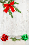 Christmas decoration with silver ribbon, canvas and fir branch Royalty Free Stock Photography