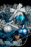 Christmas Decoration and and silver snowflake Royalty Free Stock Photography