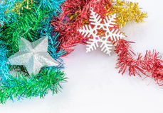 Christmas decoration with silver star and artificial fir branch Royalty Free Stock Photos