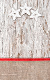 Christmas decoration with silver stars and burlap Stock Photography