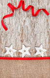 Christmas decoration with silver stars and burlap Stock Image